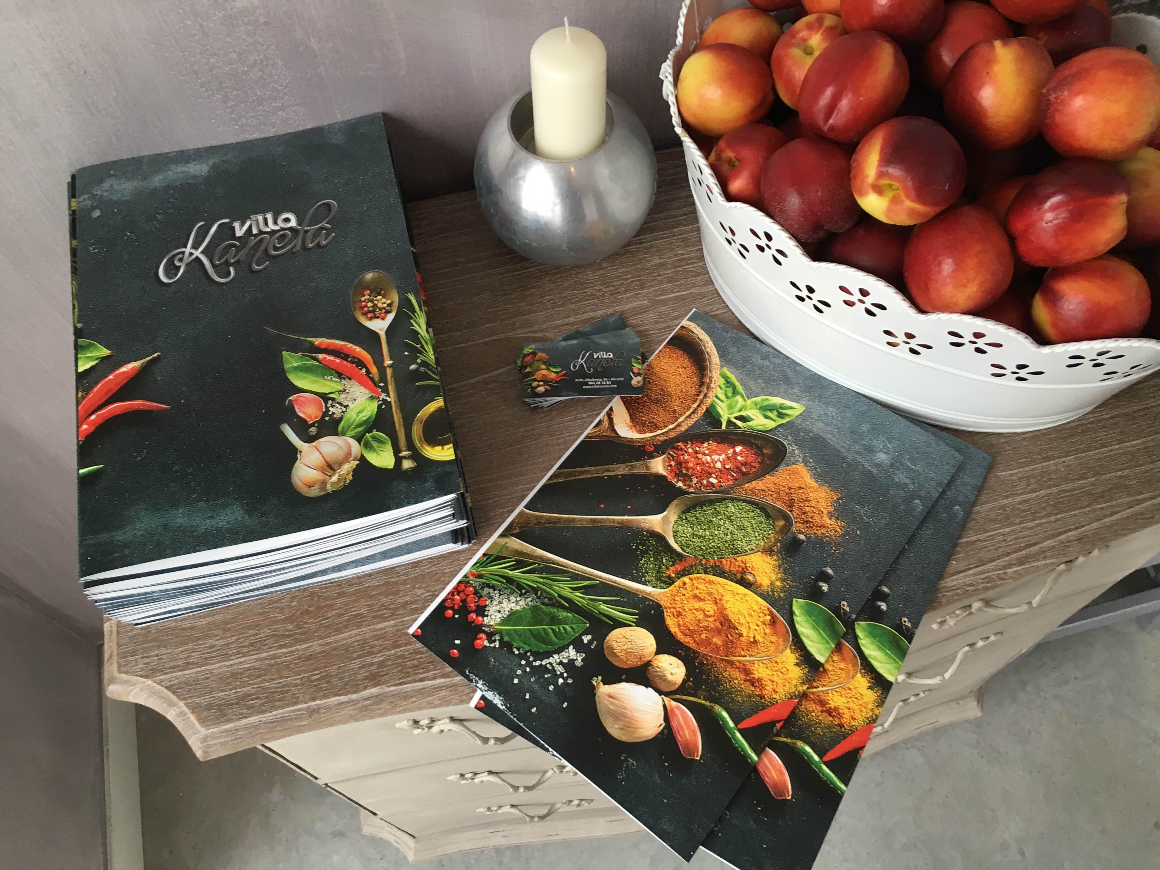 diseño imprenta menu restaurante alicante